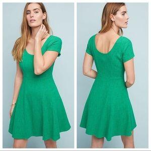 Anthropologie Maeve Nova Green Skater Dress - L